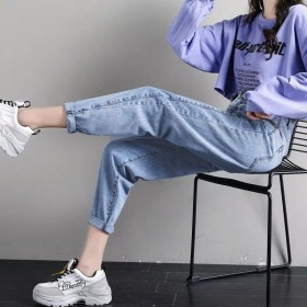 春秋季新款显瘦胖MM大码松紧高腰牛仔裤