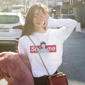 秋季新款韩版女士印花休闲长袖t恤女打底衫百搭上衣