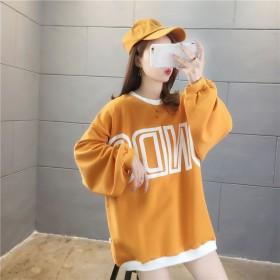 韩版潮流卫衣女2020秋装新款洋气宽松圆领字母长袖