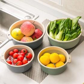 大号加厚双层沥水篮洗菜收纳篮家用塑料洗水果蓝子