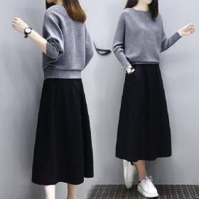 2020秋季新款女装新品连衣裙女时尚针织毛衣套装