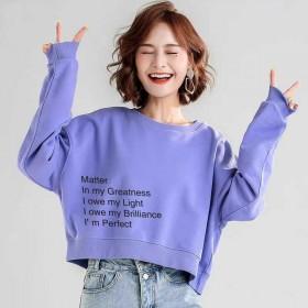 圆领短款含棉卫衣女秋装2020新款春薄款韩版宽松