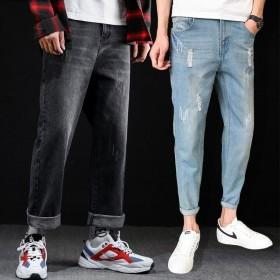 新款牛仔裤男宽松直筒男士裤子韩版破洞老爹裤