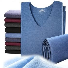 【保暖套装】男士无痕保暖内衣套装发热纤维加绒V领中