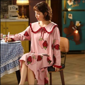 纯棉长袖睡裙女秋季可爱学生宽松长款套头睡衣