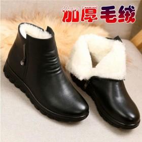 中老年妈妈鞋子女鞋冬季新款靴子女冬加绒女士棉鞋女雪