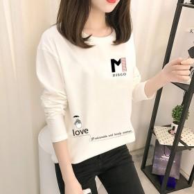 春秋新款韩版女式长袖T恤女装打底衫学生上衣圆领体恤