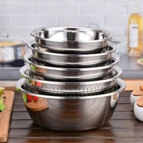 五件套】加厚不锈钢盆漏盆汤盆打蛋和面