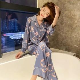 加大睡衣女春夏冰丝长袖韩版可爱两件套装性感春秋季家