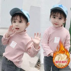 儿童半高领加绒加厚打底衫男童女童宝宝保暖上衣秋衣单