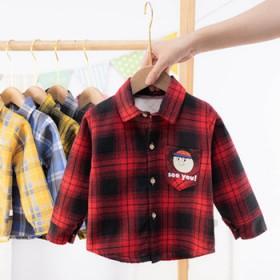 加绒加厚男童秋冬儿童长袖衬衫男孩上衣保暖格子衬衫