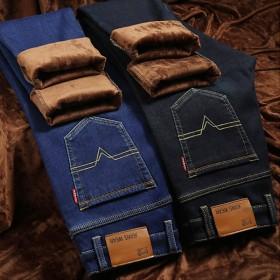 冬季加绒弹力男士牛仔裤修身中腰保暖小直筒加绒弹力舒