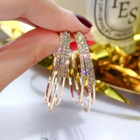 银满钻圆圈耳环气质人工镶嵌宝石个性百搭C型耳圈耳饰