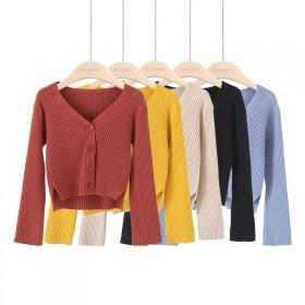 包芯纱毛衣女韩版网红短款慵懒风修身学小个子洋气长袖