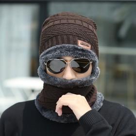 帽子男冬季保暖两件套加绒毛线帽
