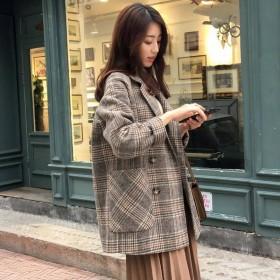 呢子大衣女2019秋冬流行新款韩版宽松短款毛呢小个