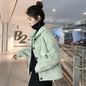 水貂绒外套女短款韩版宽松学生双面绒毛呢2020新款
