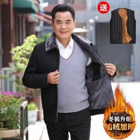 冬季中老年厚款男装爸爸装外套中年人男装棉袄保暖外套