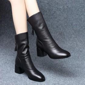 牛皮真软皮短靴女中跟方头2020秋冬新款中筒靴女粗