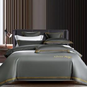 酒店商务全棉纯棉四件套纯色双人床单被套床上用品被罩