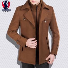 中长款毛呢大衣男士秋冬季外套立领修身加棉加厚夹克