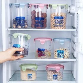 家用厨房储物罐透明塑料密封食品五谷杂粮收纳盒子