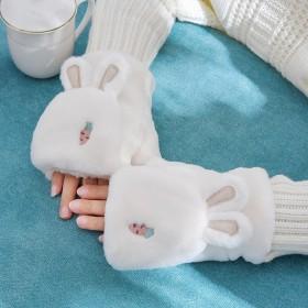 兔耳朵款毛绒翻盖手套