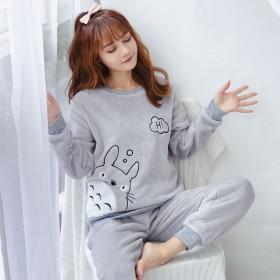 睡衣女冬季珊瑚绒加厚韩版学生可爱宽松法兰绒保暖甜美
