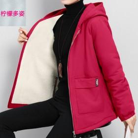 加绒加厚外套女秋冬韩版大码风衣夹克中长款连帽上衣