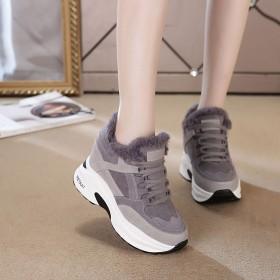 内增高运动鞋女百搭冬季黑色加绒棉鞋冬天女鞋休闲鞋
