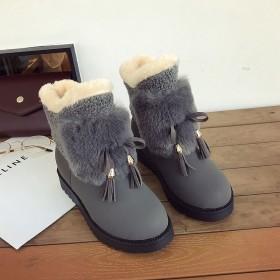 雪地靴女秋冬韩版学生女棉鞋ins短筒加绒保暖短靴