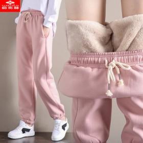 俞兆林秋冬加绒加厚羊羔绒裤女学生韩版哈伦裤运动裤