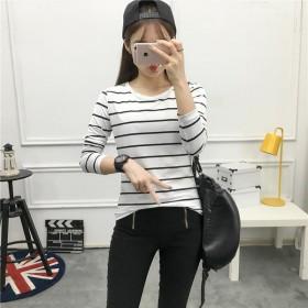 2020秋装新款韩版条纹宽松显瘦女士学生长袖修身t