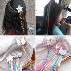 蝴蝶星星彩色假发发夹韩国儿童女童公主超仙发饰头饰夹
