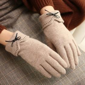 羊毛手套女秋冬韩版触屏加绒加厚