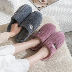 棉拖鞋女秋冬家居可爱毛绒拖鞋男士室内保暖月子鞋
