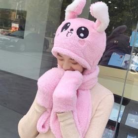 兔耳朵能动秋冬天儿童围巾帽子手套三件套装一体护耳帽