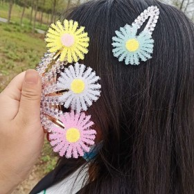 儿童发夹小雏菊发卡流沙夹BB夹刘海夹子糖果色一字夹