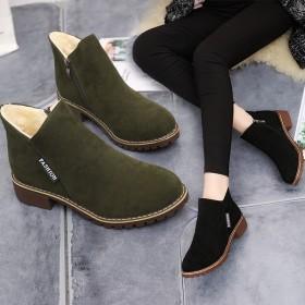 加绒短靴女低跟加棉雪地靴冬磨砂平底女靴马丁靴