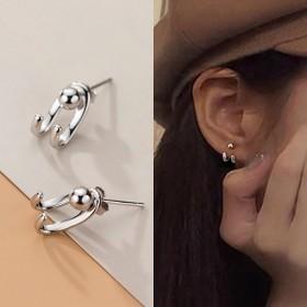 925纯银后挂双线钩子耳钉
