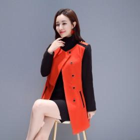 女士呢子大衣修身显瘦西装领秋冬毛呢外套女小个子风衣