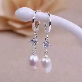 纯银贝壳珍珠耳扣女耳环防过敏时尚耳坠闺蜜同款耳饰