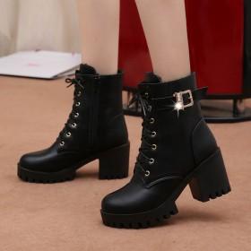 杨幂同款秋冬高跟短靴女皮靴韩版中筒系带粗跟马丁靴