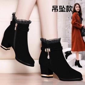 加绒保暖短靴女鞋秋冬新款粗跟高跟女靴子妈妈鞋