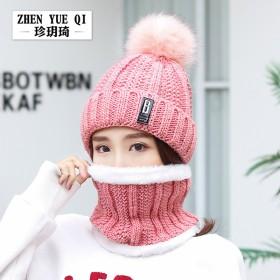 秋冬女士可爱毛球加绒保暖针织两件套B标字母毛线帽
