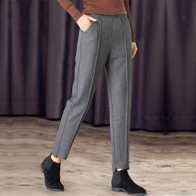 毛呢哈伦裤子女呢子九分裤宽松高腰显瘦小脚西裤