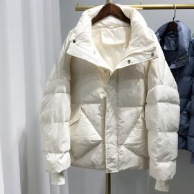 2019秋冬新韩版羽绒服女短款面包服加厚外套潮白鸭