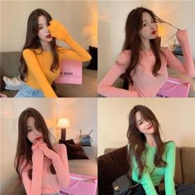 2020秋季女装新款韩版糖果色修身薄款上衣打底衫女