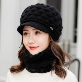 帽子兔毛帽围脖两件套保暖