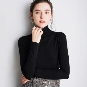 莫代尔高领打底衫女舒适上衣薄款长袖T恤弹力汗衫